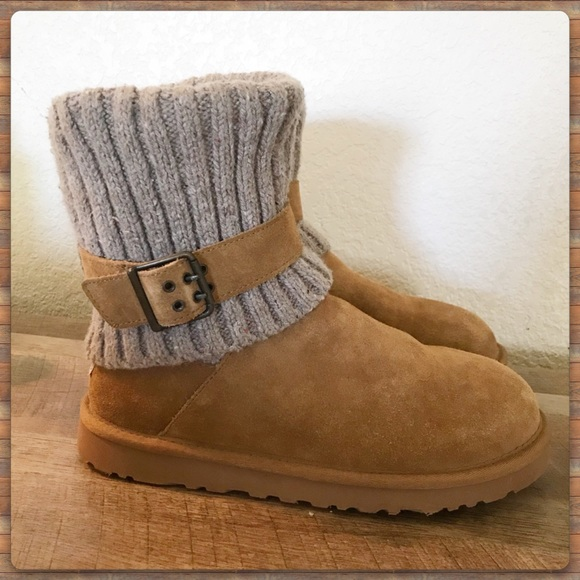 362f1b2e0bd UGG Cambridge suede and knit buckle foldover boot